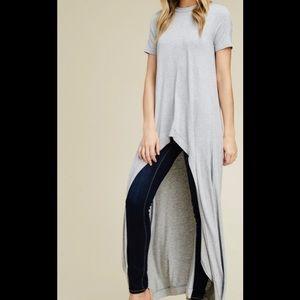 Tops - New Plus Size Grey Hi Low Maxi Blouse